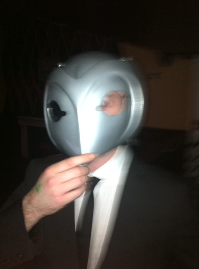 Me, trying on Camino SurReal's awesome Phantom Of The Paradise helmet at Popcorn 22/06/20