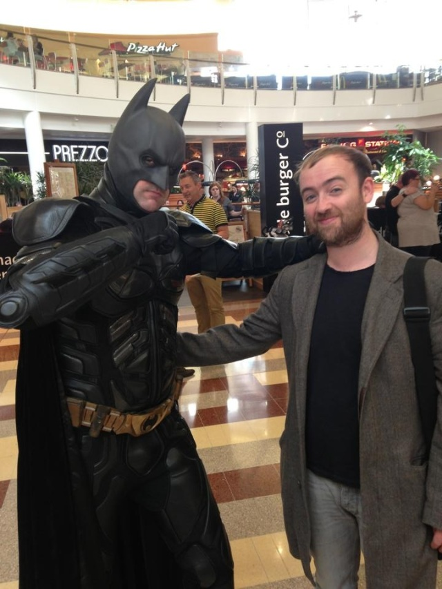 L-R: Batman, the author. NB for all I know, the man in the costume is a registered sex offender.