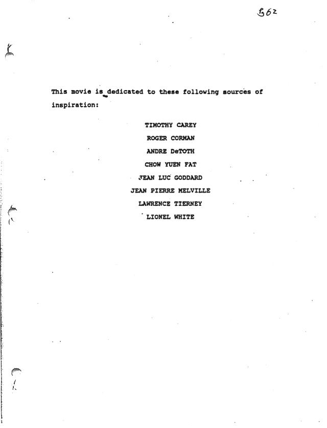 Dedication to Timothy Carey in Reservoir Dogs script